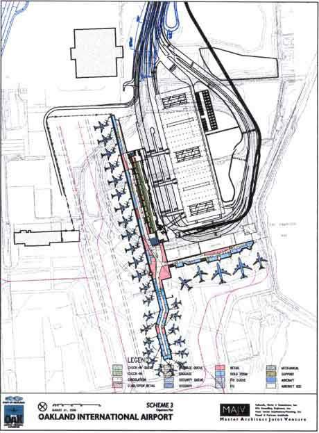 Oakland International airport has three concepts for its terminal expansion; this is the third termi