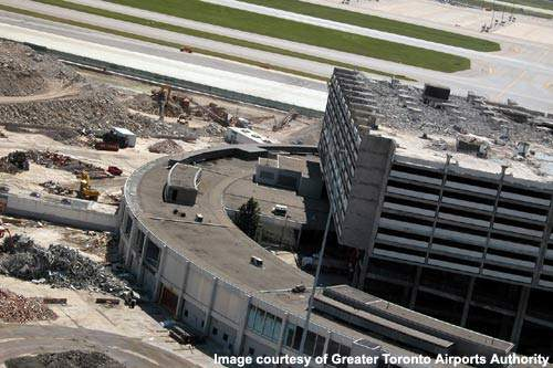 The Toronto Pearson ADP witnessed the old Terminal 1 and, gradually, Terminal 2 razed, ground to dust and recycled into the tarmac of the new Terminal 1.