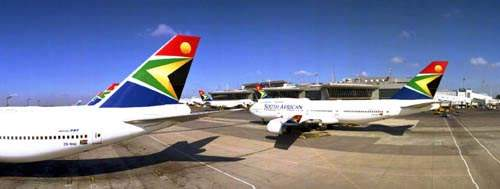 Aircraft on the runway at Oliver R Tambo International Airport, which is being expanded to cope with the expected influx of visitors.