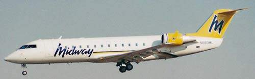 A Midway CRJ arriving at Port Columbus.