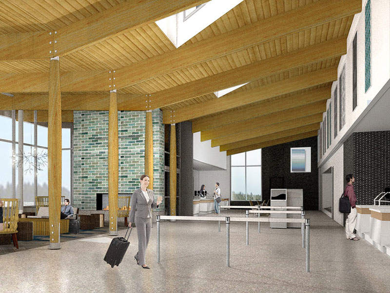 Phase one of Falls International Airport terminal expansion included the construction of a public lobby/waiting area. Image courtesy of KRAUS-ANDERSON COMPANIES.