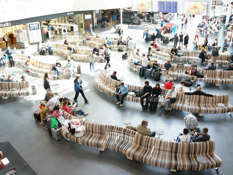 curved airport seating sustainable seamless
