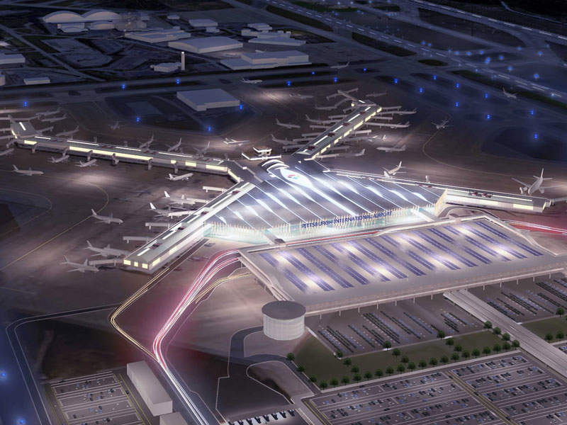 A graphical image representing bird's eye view of the new terminal during night. Credit: Allegheny County Airport Authority.