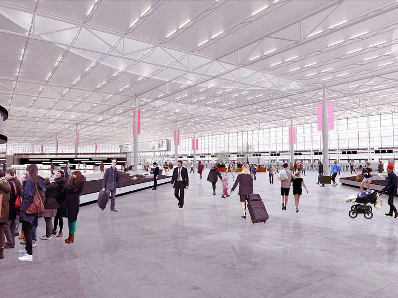 The concourse level will include the ticketing space, baggage claim area, and security check point and concessions area. Credit: Allegheny County Airport Authority.