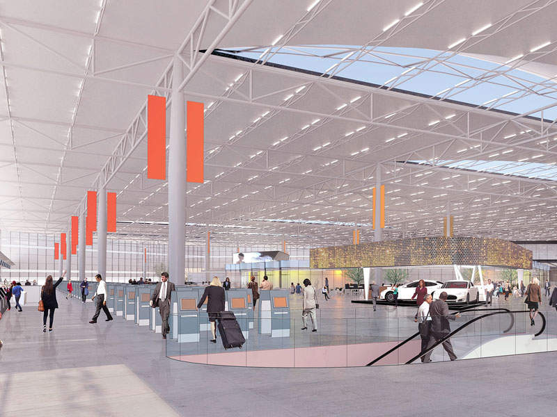 Artist's impression of the concourse level, which includes a combined airline operating area and passenger-public area. Credit: Allegheny County Airport Authority.