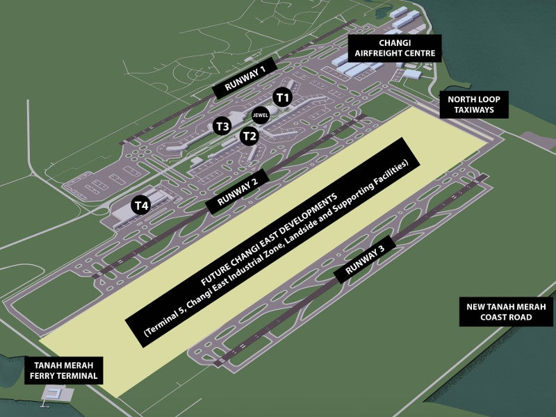 The Terminal 5 project also includes the construction of a three-runway system. Image courtesy of Changi Airport.