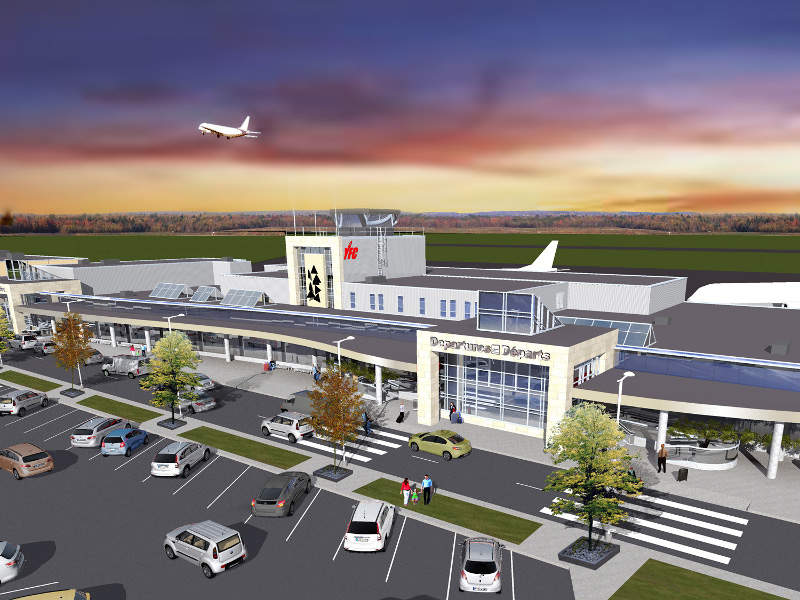 A rendition of the renovated Fredericton international airport terminal. Credit: Fredericton International Airport.