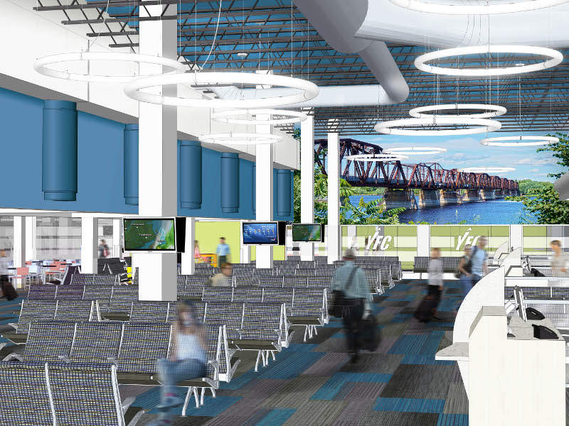 The departures area will be expanded to add additional seating and food service area. Credit: Fredericton International Airport.