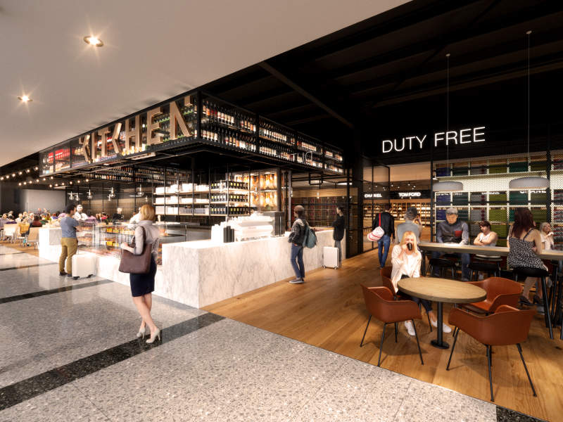The terminal will feature expanded duty-free area for international arrivals and departures. Credit: Adelaide Airport.
