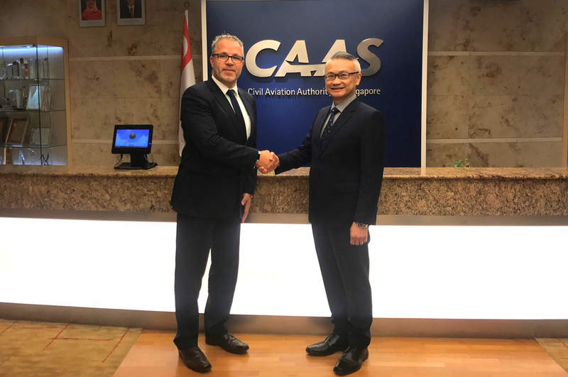 CAAS Soh Poh Theen and DFS Aviation Services managing director Oliver Cristinetti
