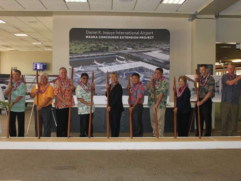 Ground-breaking ceremony of New Mauka Concourse at the Daniel K Inouye international airport was held in May 2018.  Credit: State of Hawaii.