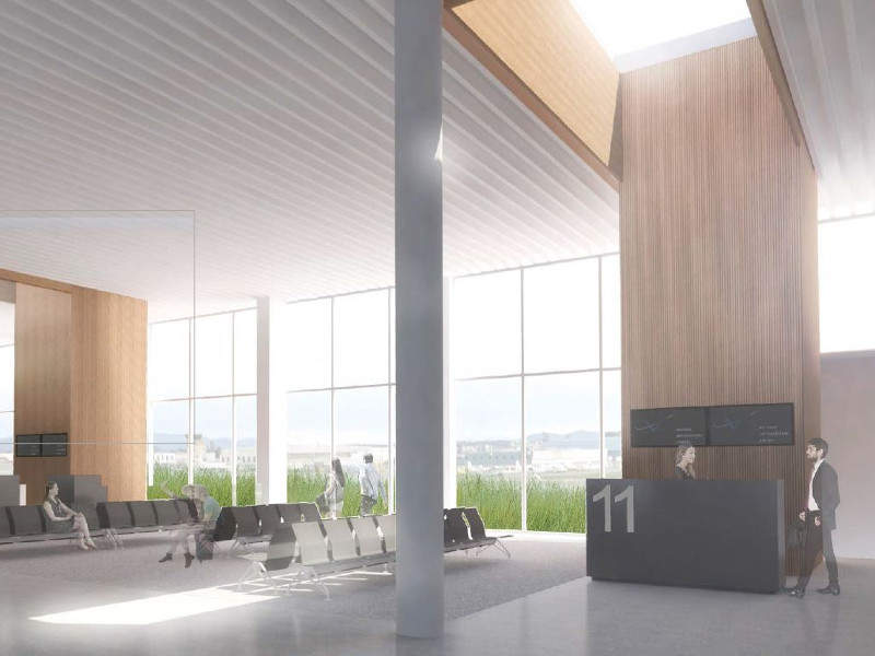 Victoria International Airport terminal expansion will double the size of the lower passenger departure lounge. Credit: Victoria Airport Authority.