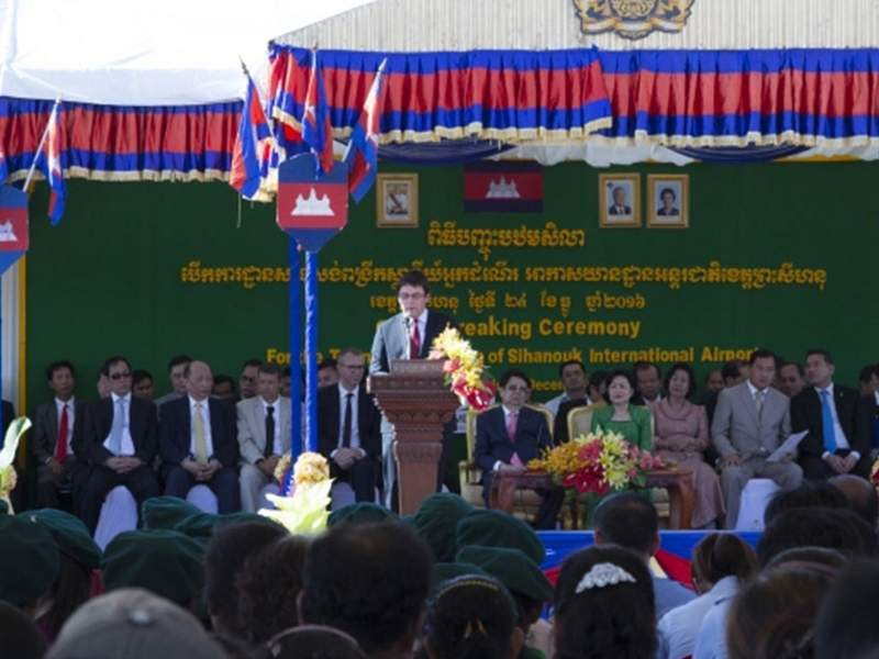 The ground-breaking ceremony for the terminal extension works at Sihanouk International Airport was held in December 2016. Credit: VINCI Airports.
