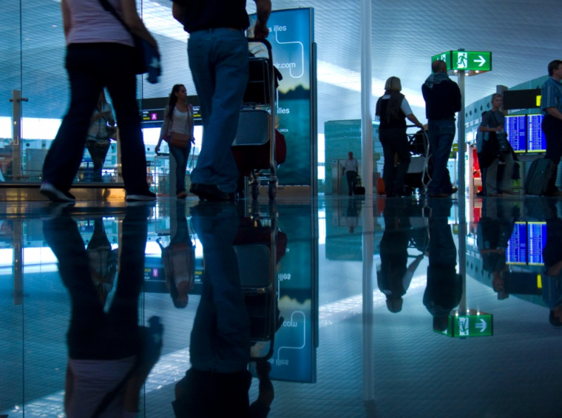 passengers travelling through an airport