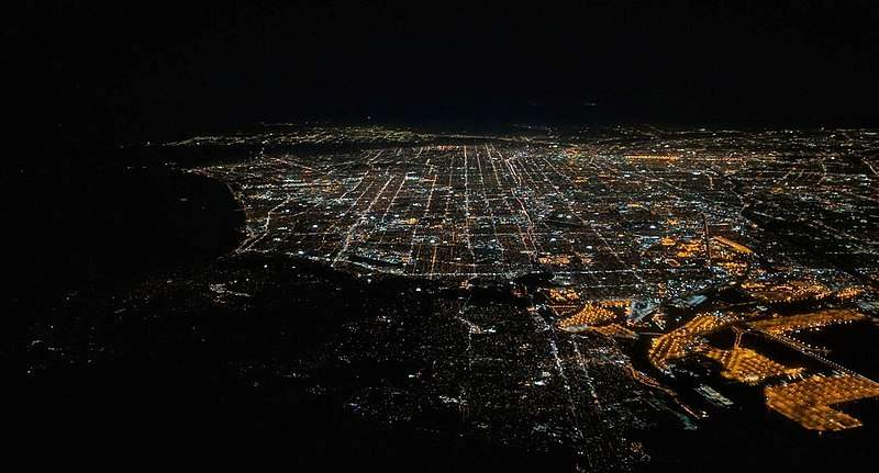 Aerial image of Los Angeles International Airport at night
