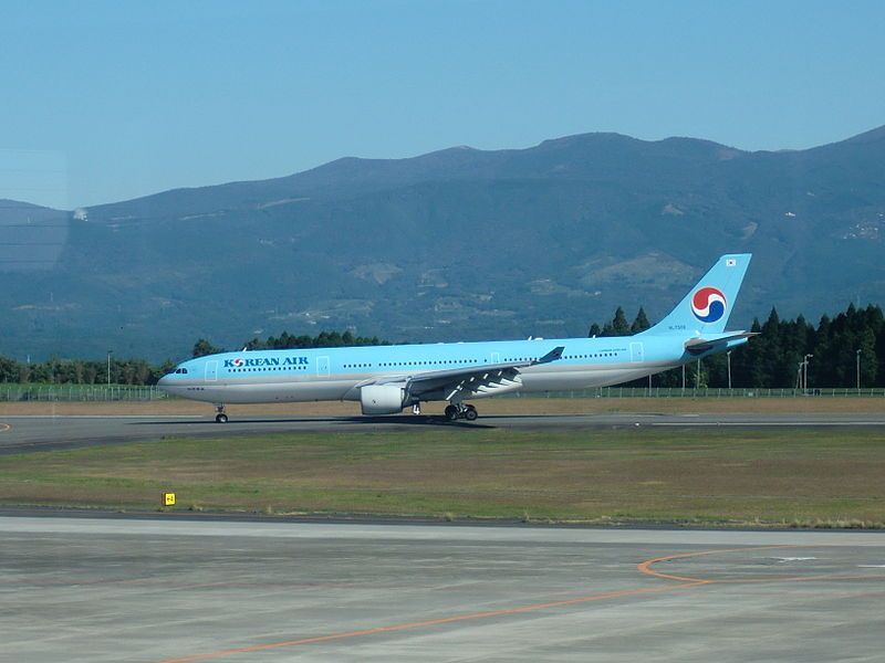 The runway of the Kagoshima airport is capable of accommodating large passenger jets such as Airbus A330. Credit: hyolee2.
