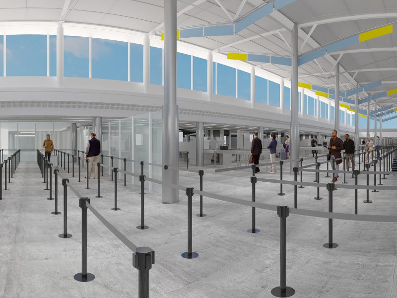 The central terminal redevelopment will realise improved ticketing halls and consolidated checkpoint. Credit: Miami International Airport.