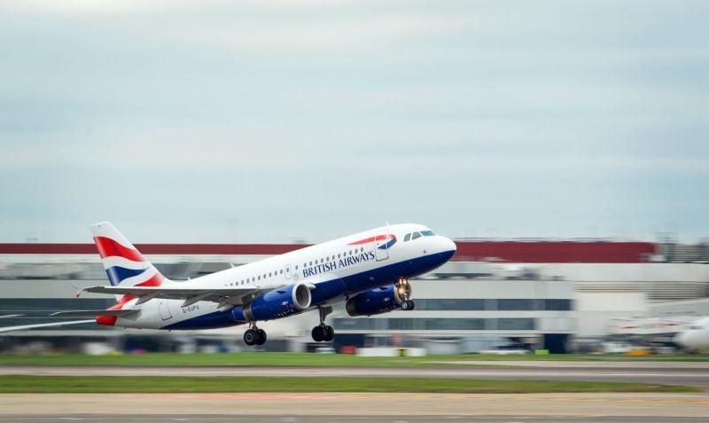 Heathrow, British Airways aircraft taking off, March 2019.