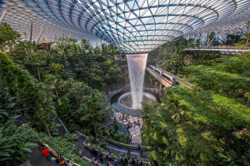 Jewel Changi Airport – Rain Vortex and Forest Vallery