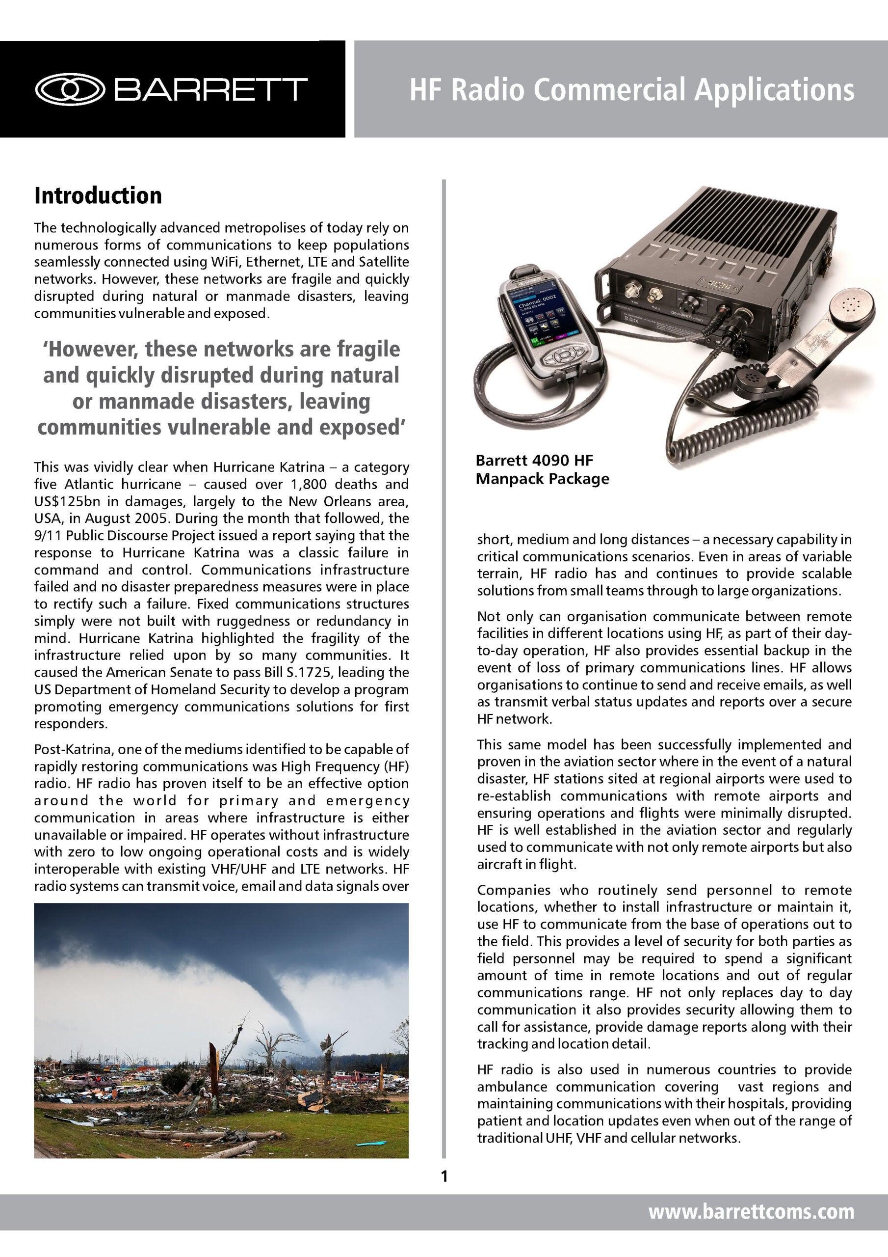 Barrett HF Radio Commercial Applications