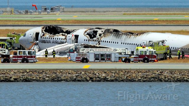 Asiana Airlines wrecked aircraft
