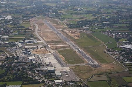 Aerial view of Guernsey airport runway and taxiway network