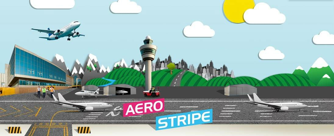 cartoon airport with planes landing